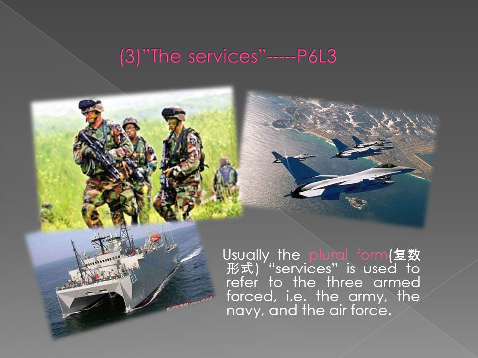 Usually the plural form( 复数 形式 ) services is used to refer to the three armed forced, i.e.