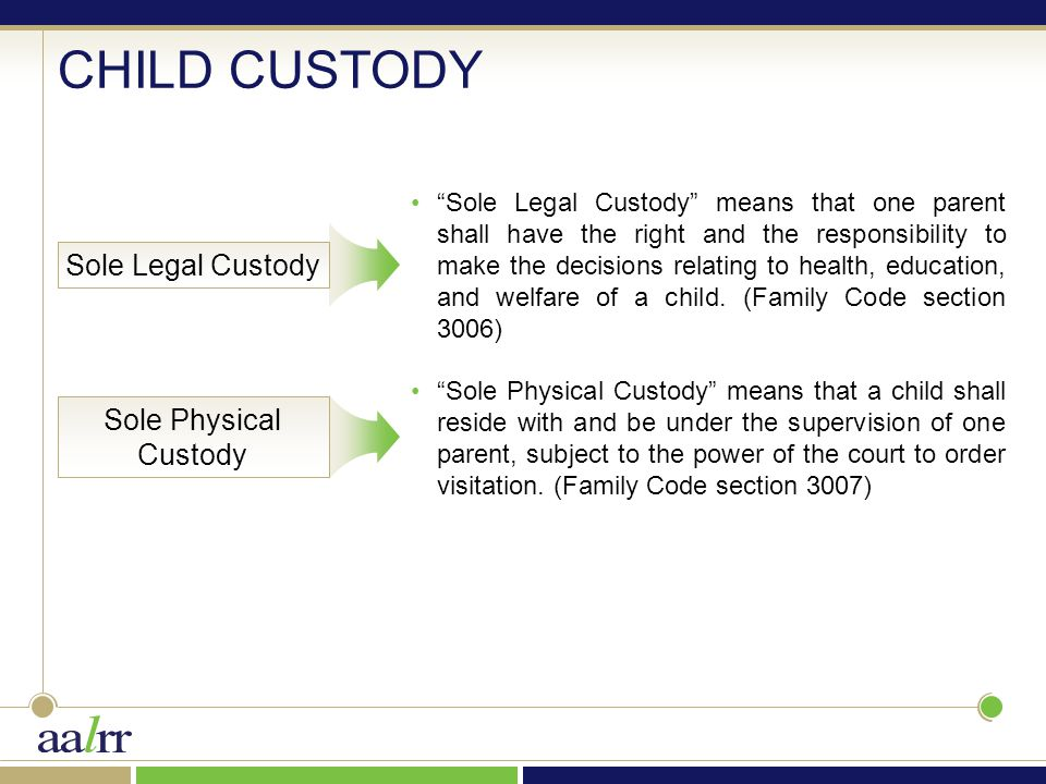 "Sole Legal Custody ""Sole Legal Custody"" means that one parent shall have the right and the responsibility to make the decisions relating to health, ed"