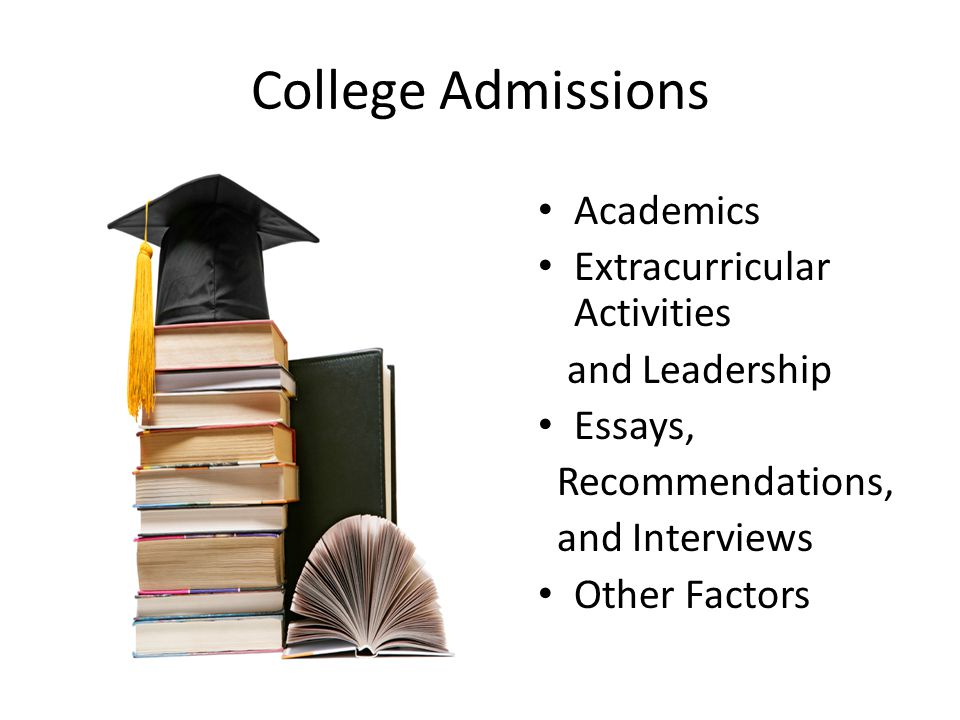 Academics Extracurricular Activities and Leadership Essays, Recommendations, and Interviews Other Factors College Admissions
