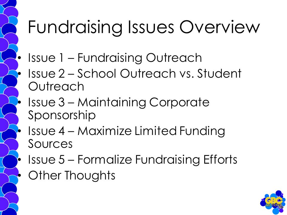 Fundraising Issues Overview Issue 1 – Fundraising Outreach Issue 2 – School Outreach vs.