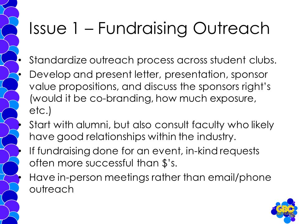 Issue 1 – Fundraising Outreach Standardize outreach process across student clubs.