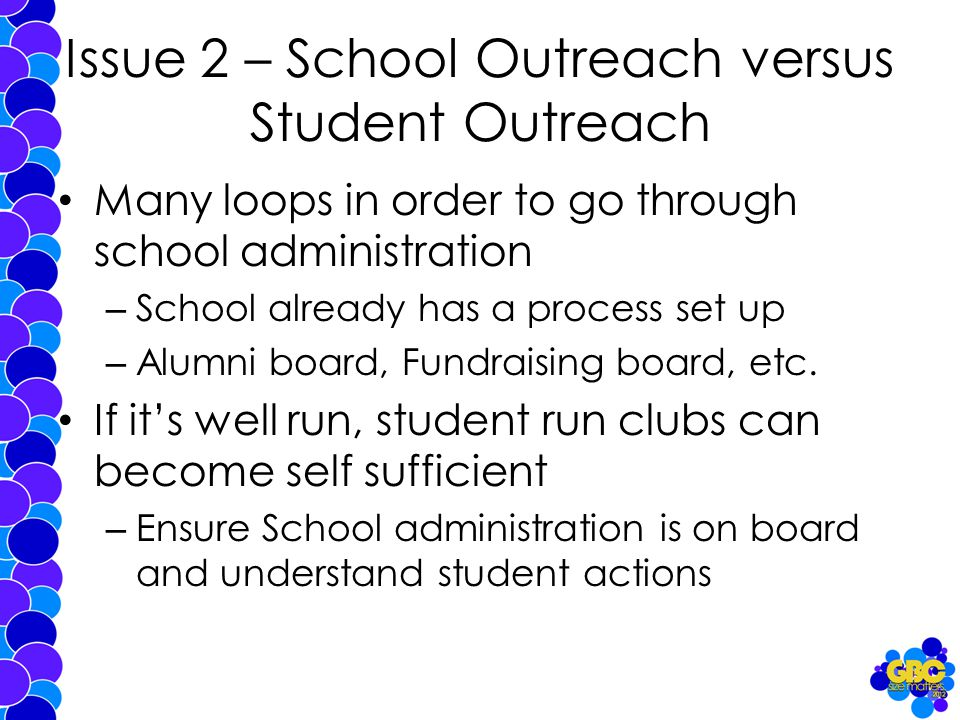 Issue 2 – School Outreach versus Student Outreach Many loops in order to go through school administration – School already has a process set up – Alumni board, Fundraising board, etc.