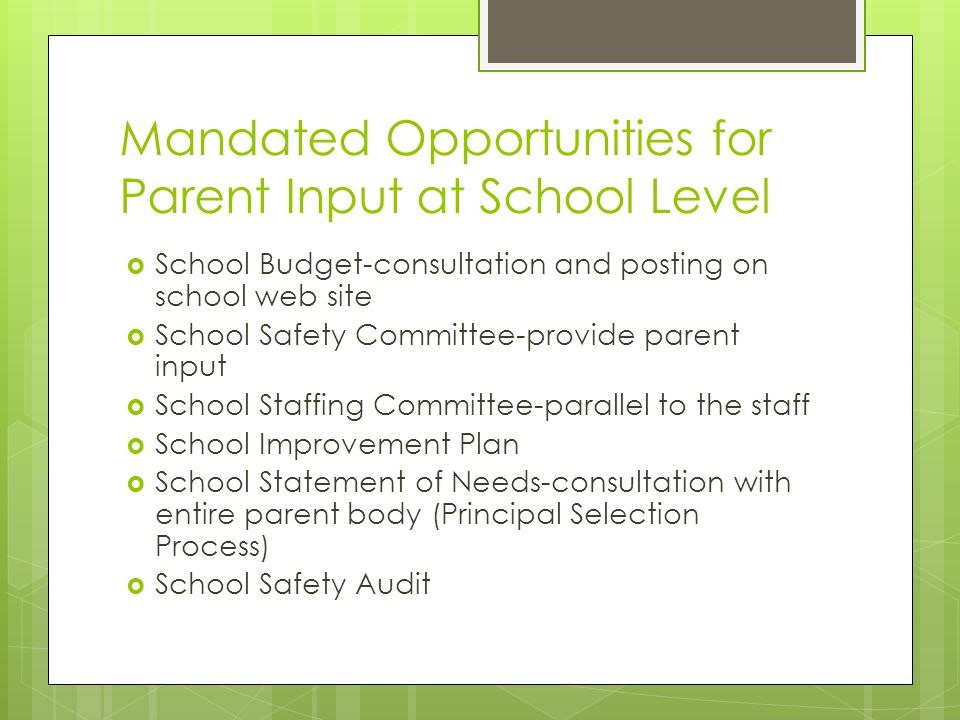 Mandated Opportunities for Parent Input at School Level  School Budget-consultation and posting on school web site  School Safety Committee-provide parent input  School Staffing Committee-parallel to the staff  School Improvement Plan  School Statement of Needs-consultation with entire parent body (Principal Selection Process)  School Safety Audit