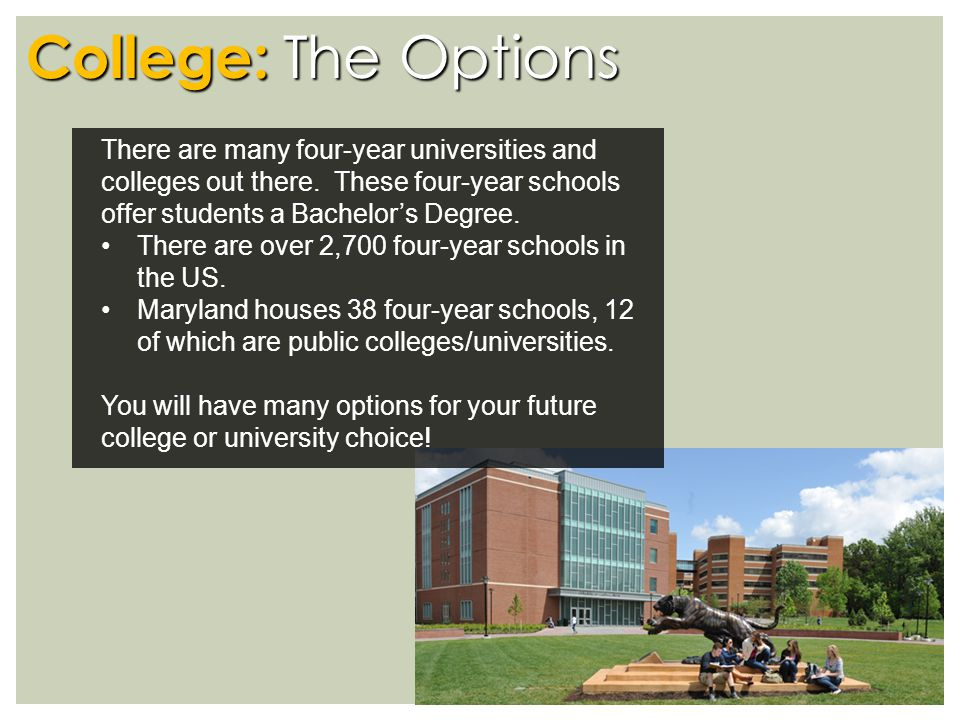College: The Options There are many four-year universities and colleges out there.