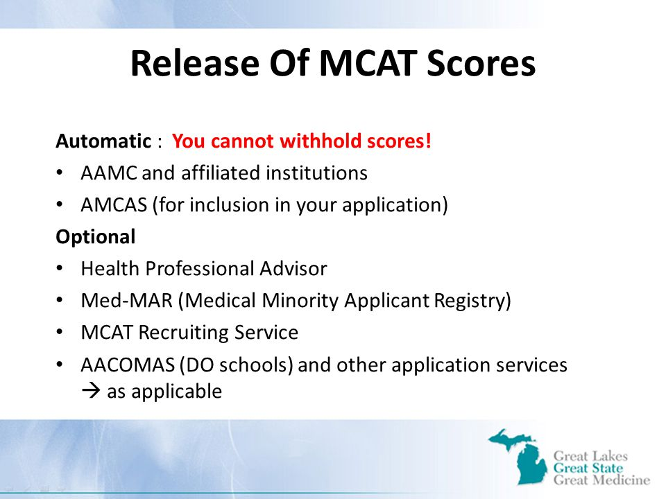 Release Of MCAT Scores Automatic : You cannot withhold scores.