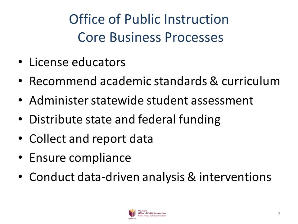Office of Public Instruction Core Business Processes License educators Recommend academic standards & curriculum Administer statewide student assessment Distribute state and federal funding Collect and report data Ensure compliance Conduct data-driven analysis & interventions 2