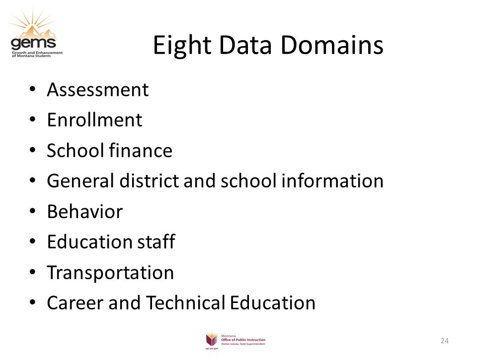Eight Data Domains Assessment Enrollment School finance General district and school information Behavior Education staff Transportation Career and Technical Education 24