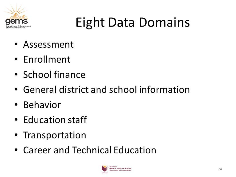GEMS Project Schedule 8 Domains – August 2011 thru December 2012 25