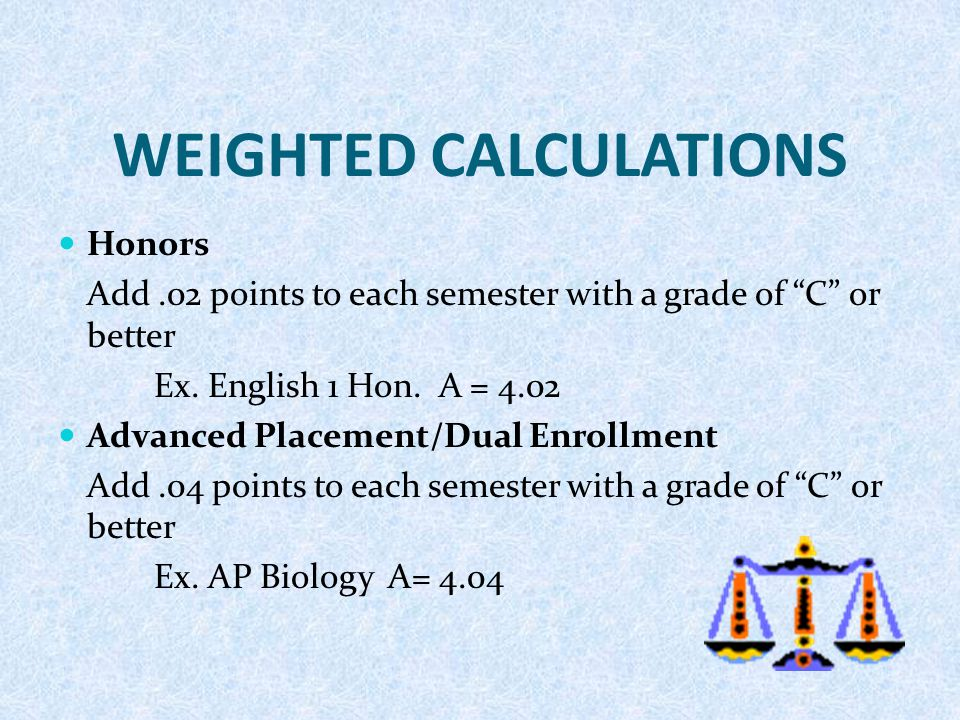 "WEIGHTED CALCULATIONS Honors Add.02 points to each semester with a grade of ""C"" or better Ex. English 1 Hon. A = 4.02 Advanced Placement/Dual Enrollme"
