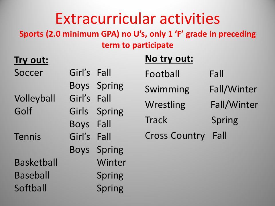 Extracurricular activities Sports (2.0 minimum GPA) no U's, only 1 'F' grade in preceding term to participate Try out: Soccer Girl's Fall Boys Spring Volleyball Girl's Fall Golf Girls Spring Boys Fall Tennis Girl's Fall Boys Spring Basketball Winter Baseball Spring Softball Spring No try out: Football Fall Swimming Fall/Winter Wrestling Fall/Winter Track Spring Cross Country Fall