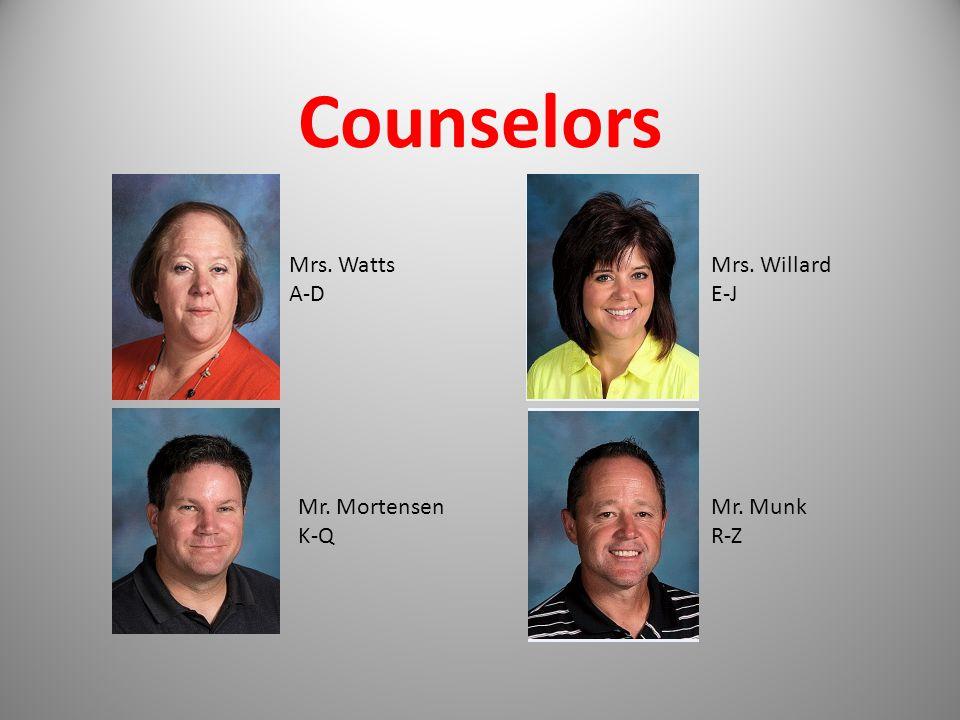 Counselors Mrs. Watts A-D Mrs. Willard E-J Mr. Mortensen K-Q Mr. Munk R-Z