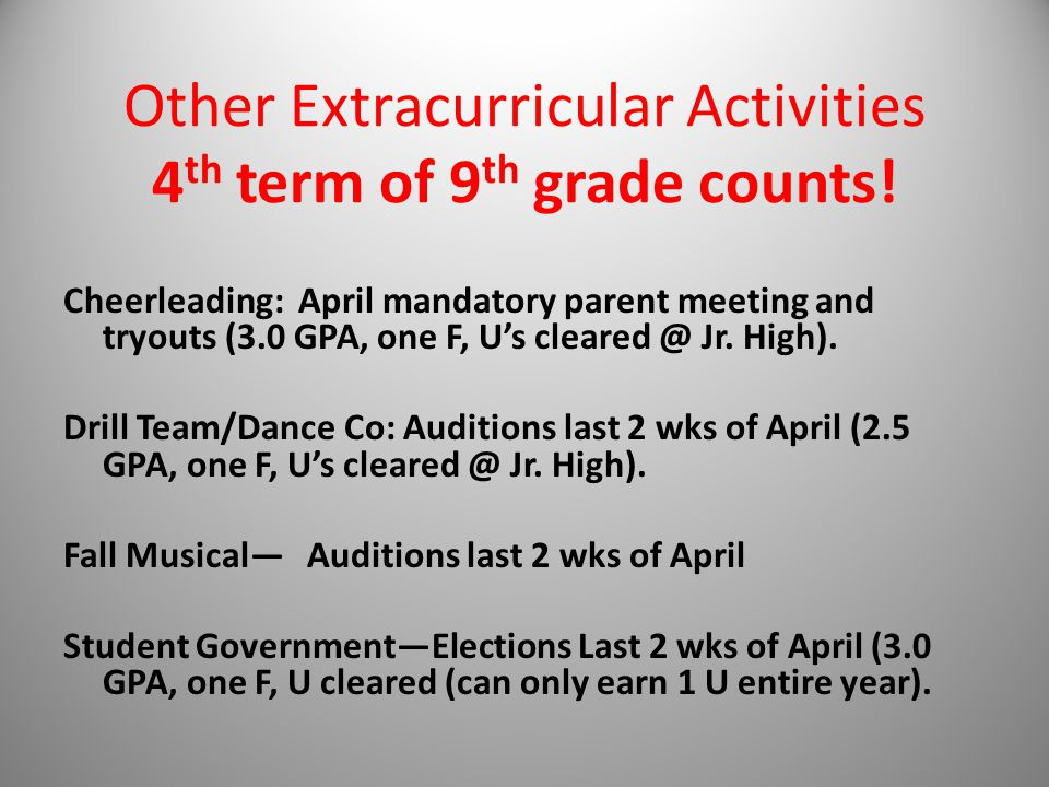 Other Extracurricular Activities 4 th term of 9 th grade counts.