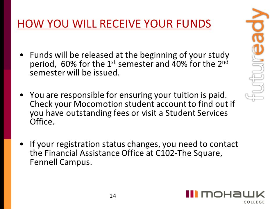 HOW YOU WILL RECEIVE YOUR FUNDS Funds will be released at the beginning of your study period, 60% for the 1 st semester and 40% for the 2 nd semester