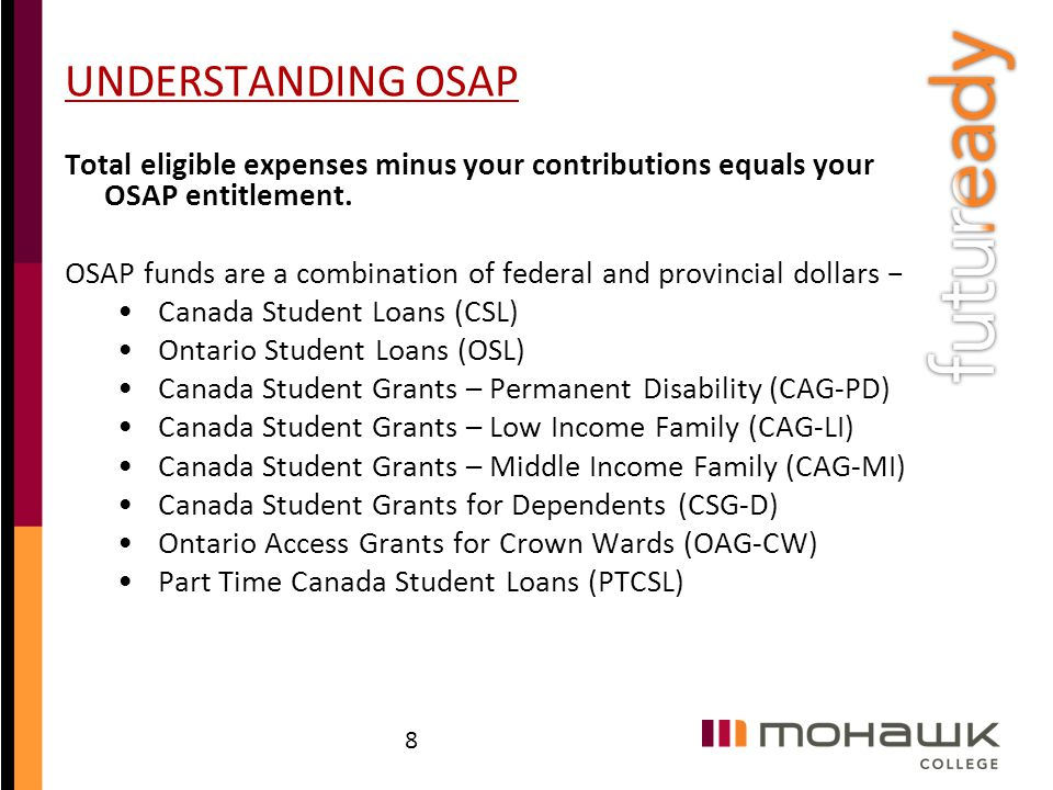 UNDERSTANDING OSAP Total eligible expenses minus your contributions equals your OSAP entitlement. OSAP funds are a combination of federal and provinci