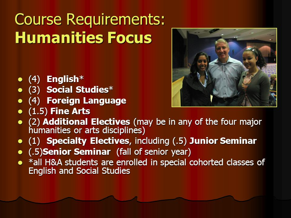 Course Requirements: Humanities Focus (4)English* (4)English* (3)Social Studies* (3)Social Studies* (4)Foreign Language (4)Foreign Language (1.5) Fine Arts (1.5) Fine Arts (2) Additional Electives (may be in any of the four major humanities or arts disciplines) (2) Additional Electives (may be in any of the four major humanities or arts disciplines) (1)Specialty Electives, including (.5) Junior Seminar (1)Specialty Electives, including (.5) Junior Seminar (.5)Senior Seminar (fall of senior year) (.5)Senior Seminar (fall of senior year) *all H&A students are enrolled in special cohorted classes of English and Social Studies *all H&A students are enrolled in special cohorted classes of English and Social Studies