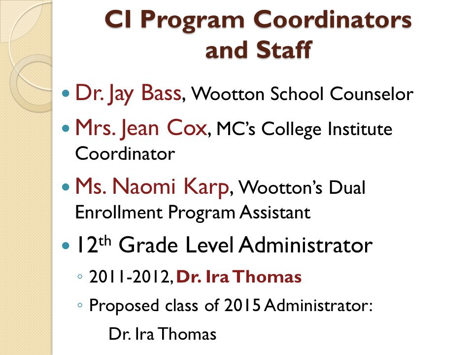 CI Program Coordinators and Staff Dr. Jay Bass, Wootton School Counselor Mrs.