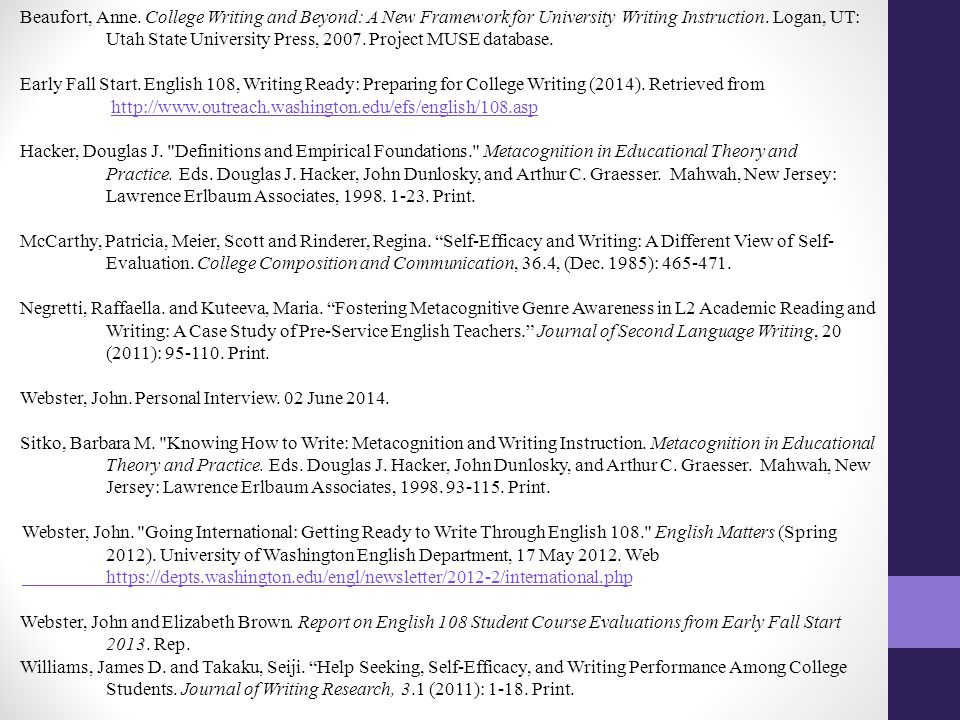Beaufort, Anne. College Writing and Beyond: A New Framework for University Writing Instruction.
