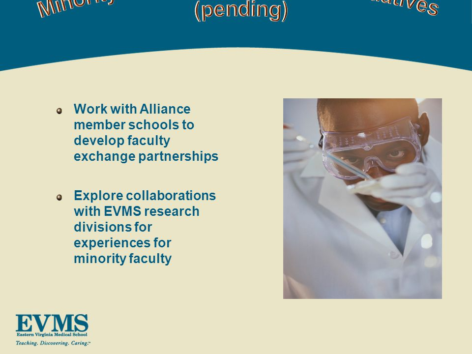 Work with Alliance member schools to develop faculty exchange partnerships Explore collaborations with EVMS research divisions for experiences for minority faculty