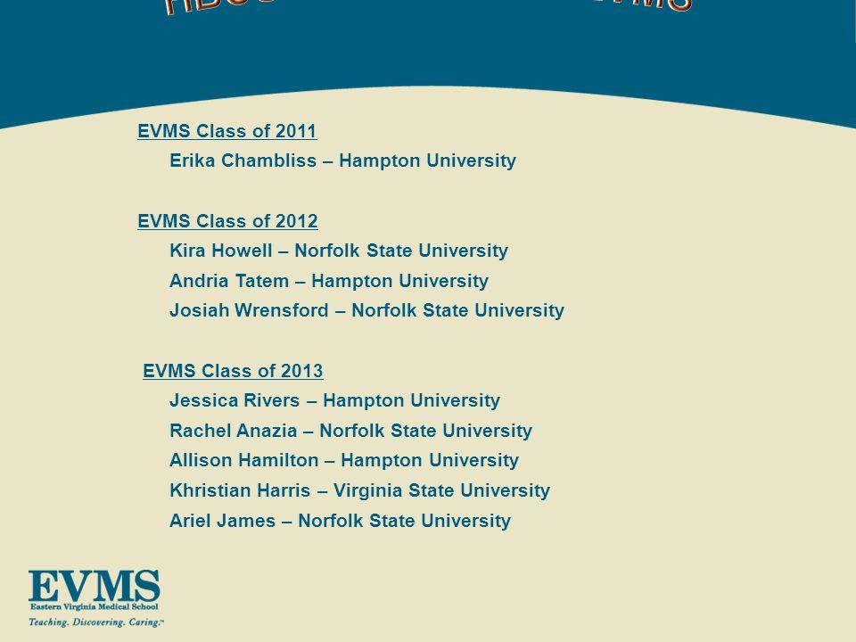 Khristian Harris (MD Class of 2013) - $5,000.00 Virginia State University Ariel James (MD Class of 2013) - $5,000.00 Norfolk State University Jessica Rivers (MD Class of 2012) - $5,000.00 Hampton University Josiah Wrensford (MD Class of 2012) - $5,000.00 Norfolk State University