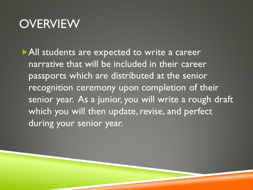 OVERVIEW  All students are expected to write a career narrative that will be included in their career passports which are distributed at the senior recognition ceremony upon completion of their senior year.