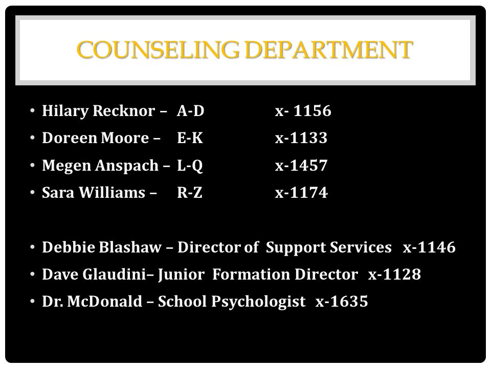COUNSELING DEPARTMENT Hilary Recknor –A-D x- 1156 Doreen Moore –E-K x-1133 Megen Anspach –L-Q x-1457 Sara Williams –R-Zx-1174 Debbie Blashaw – Directo