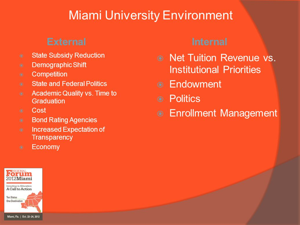 Miami University Environment External  State Subsidy Reduction  Demographic Shift  Competition  State and Federal Politics  Academic Quality vs.