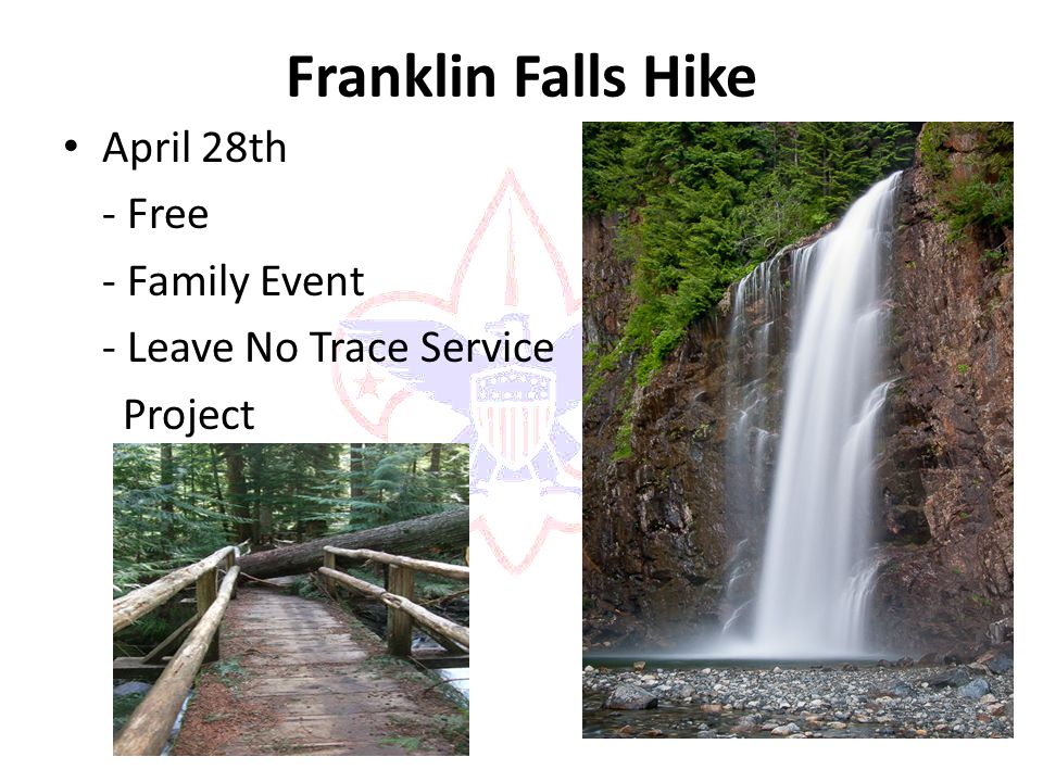 Franklin Falls Hike April 28th - Free - Family Event - Leave No Trace Service Project