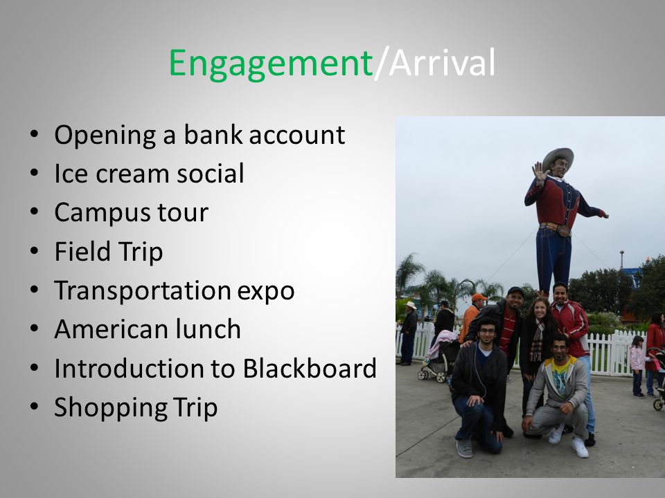 Engagement/Arrival Opening a bank account Ice cream social Campus tour Field Trip Transportation expo American lunch Introduction to Blackboard Shopping Trip