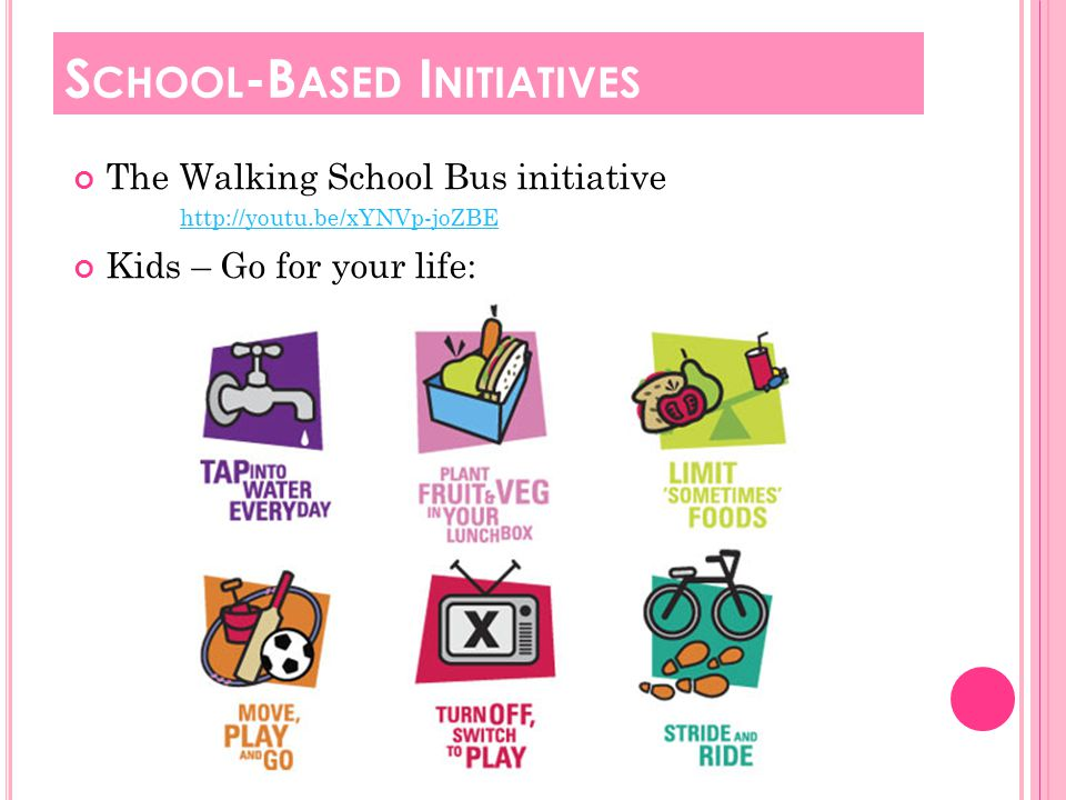 The Walking School Bus initiative http://youtu.be/xYNVp-joZBE Kids – Go for your life: S CHOOL -B ASED I NITIATIVES