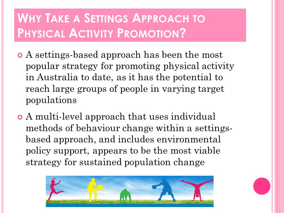 A settings-based approach has been the most popular strategy for promoting physical activity in Australia to date, as it has the potential to reach large groups of people in varying target populations A multi-level approach that uses individual methods of behaviour change within a settings- based approach, and includes environmental policy support, appears to be the most viable strategy for sustained population change W HY T AKE A S ETTINGS A PPROACH TO P HYSICAL A CTIVITY P ROMOTION