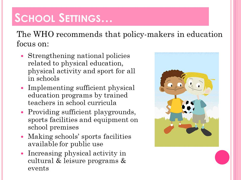 The Walking School Bus initiative http://youtu.be/xYNVp-joZBE Kids – Go for your life: S CHOOL -B ASED I NITIATIVES