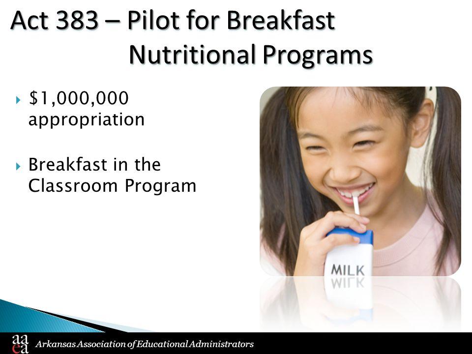 Arkansas Association of Educational Administrators Act 383 – Pilot for Breakfast Nutritional Programs  $1,000,000 appropriation  Breakfast in the Classroom Program