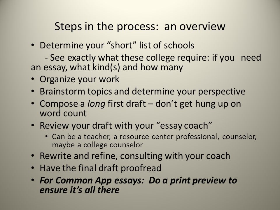 Steps in the process: an overview Determine your short list of schools - See exactly what these college require: if you need an essay, what kind(s) and how many Organize your work Brainstorm topics and determine your perspective Compose a long first draft – don't get hung up on word count Review your draft with your essay coach Can be a teacher, a resource center professional, counselor, maybe a college counselor Rewrite and refine, consulting with your coach Have the final draft proofread For Common App essays: Do a print preview to ensure it's all there