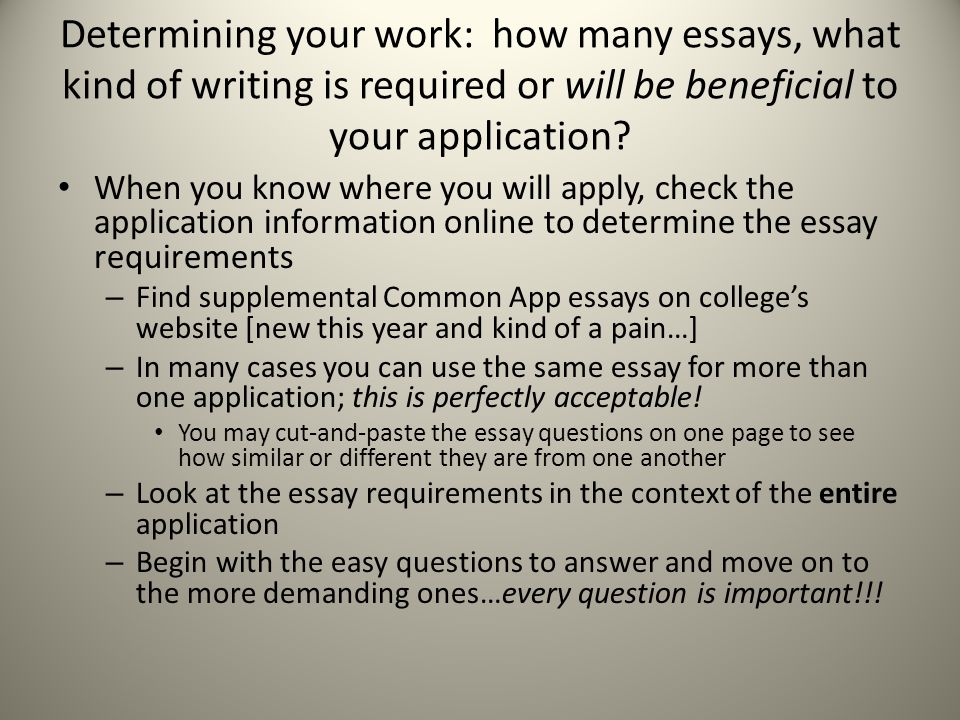 Determining your work: how many essays, what kind of writing is required or will be beneficial to your application.