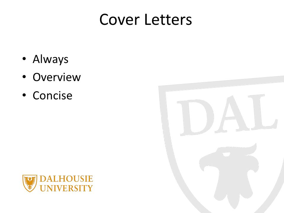 Cover Letters Always Overview Concise