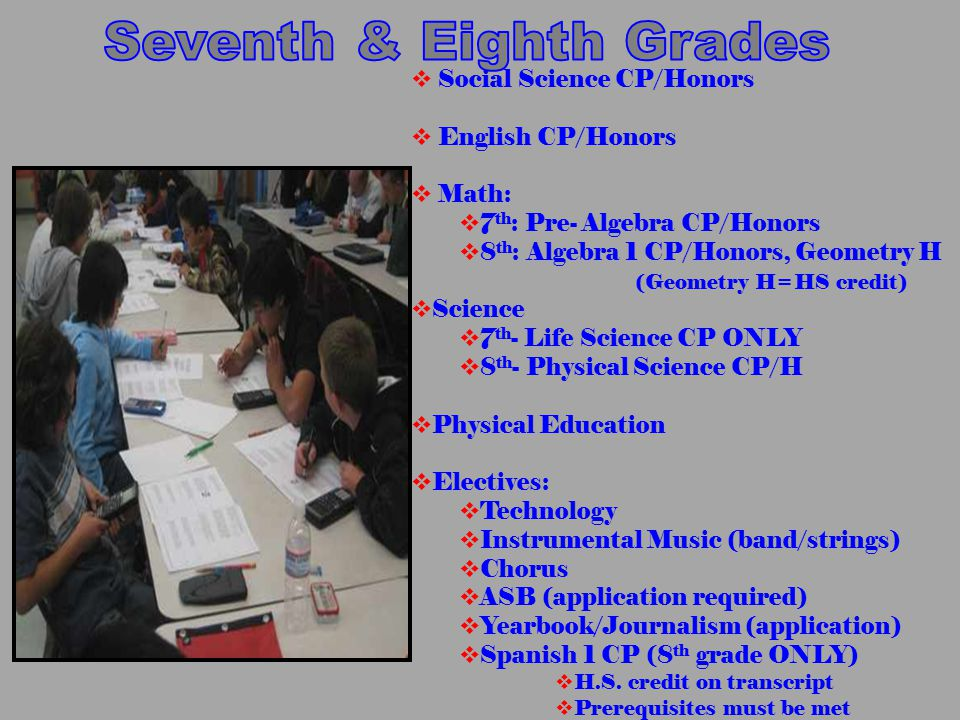  Social Science CP/Honors  English CP/Honors  Math:  7 th : Pre- Algebra CP/Honors  8 th : Algebra 1 CP/Honors, Geometry H (Geometry H=HS credit)
