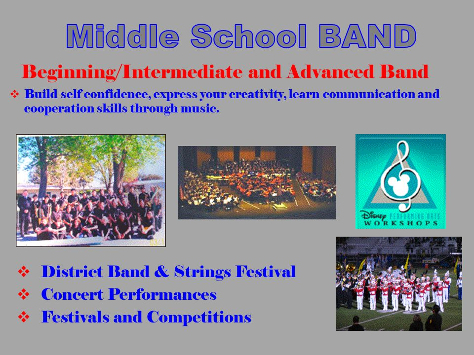  District Band & Strings Festival  Concert Performances  Festivals and Competitions Beginning/Intermediate and Advanced Band  Build self confidenc