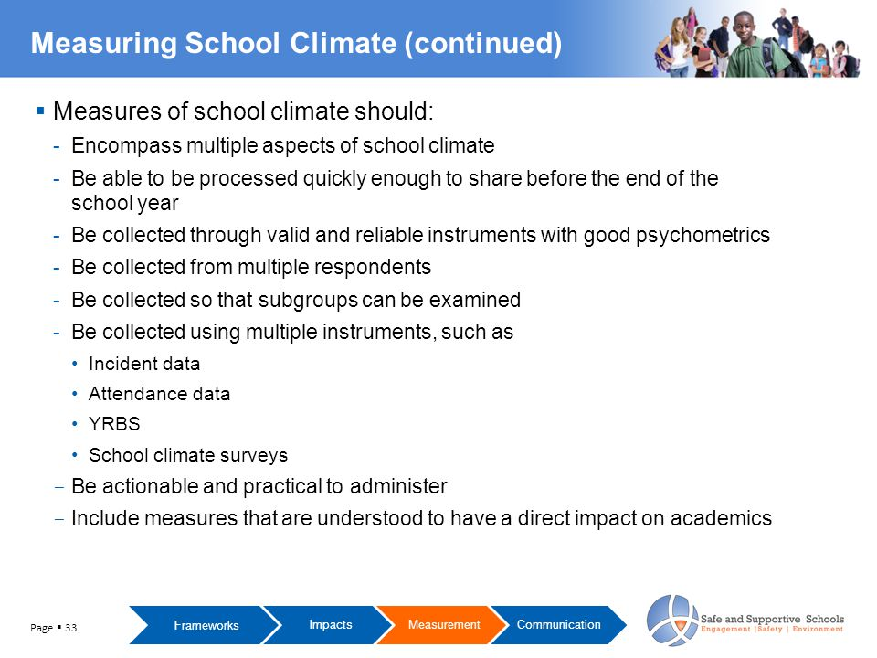  Measures of school climate should: -Encompass multiple aspects of school climate -Be able to be processed quickly enough to share before the end of the school year -Be collected through valid and reliable instruments with good psychometrics -Be collected from multiple respondents -Be collected so that subgroups can be examined -Be collected using multiple instruments, such as Incident data Attendance data YRBS School climate surveys - Be actionable and practical to administer - Include measures that are understood to have a direct impact on academics Measuring School Climate (continued) Frameworks ImpactsMeasurementCommunication Page  33