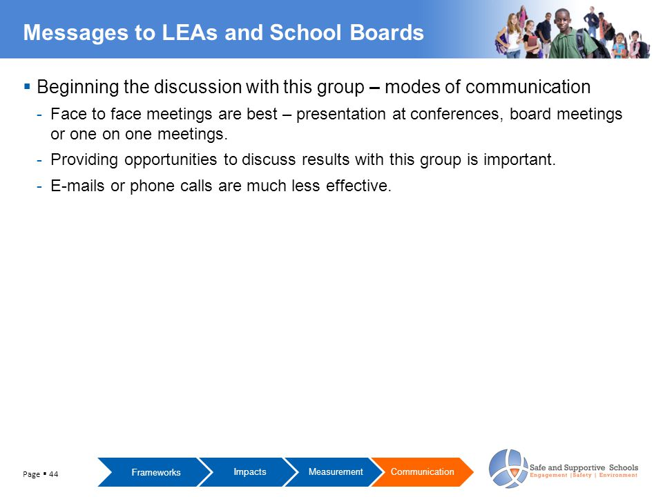  Beginning the discussion with this group – modes of communication -Face to face meetings are best – presentation at conferences, board meetings or one on one meetings.