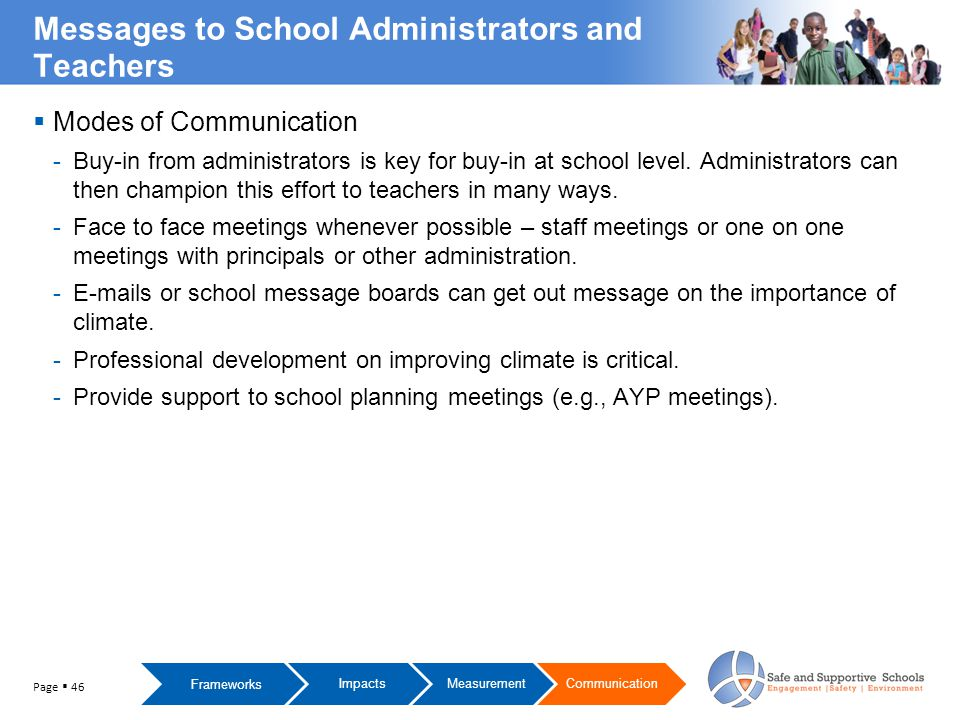  Modes of Communication -Buy-in from administrators is key for buy-in at school level.