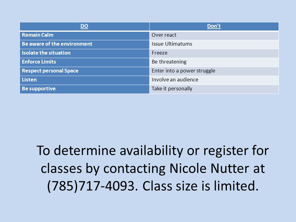 To determine availability or register for classes by contacting Nicole Nutter at (785)717-4093.