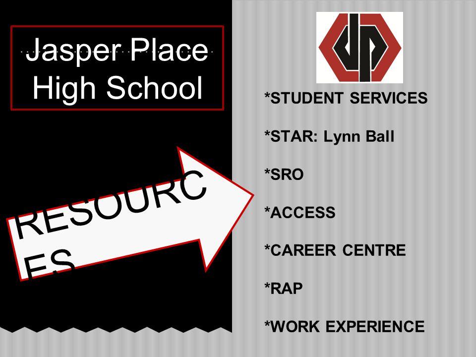 Jasper Place High School *STUDENT SERVICES *STAR: Lynn Ball *SRO *ACCESS *CAREER CENTRE *RAP *WORK EXPERIENCE RESOURC ES