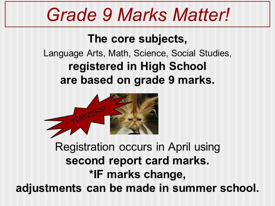 Grade 9 Marks Matter.