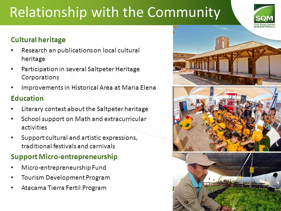 Cultural heritage Research an publications on local cultural heritage Participation in several Saltpeter Heritage Corporations Improvements in Histori