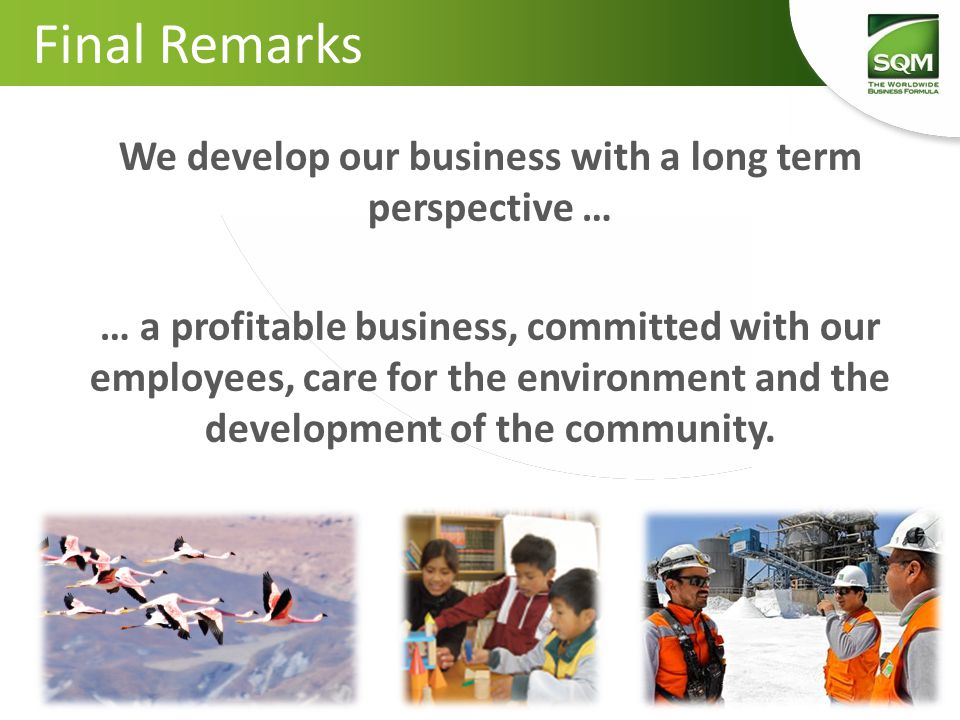 Final Remarks We develop our business with a long term perspective … … a profitable business, committed with our employees, care for the environment a