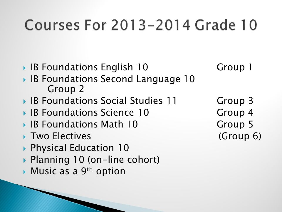 IB Foundations English 10 Group 1  IB Foundations Second Language 10 Group 2  IB Foundations Social Studies 11 Group 3  IB Foundations Science 10 Group 4  IB Foundations Math 10 Group 5  Two Electives (Group 6)  Physical Education 10  Planning 10 (on-line cohort)  Music as a 9 th option