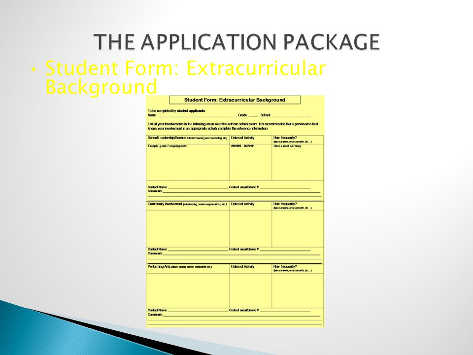 Student Form: Extracurricular Background
