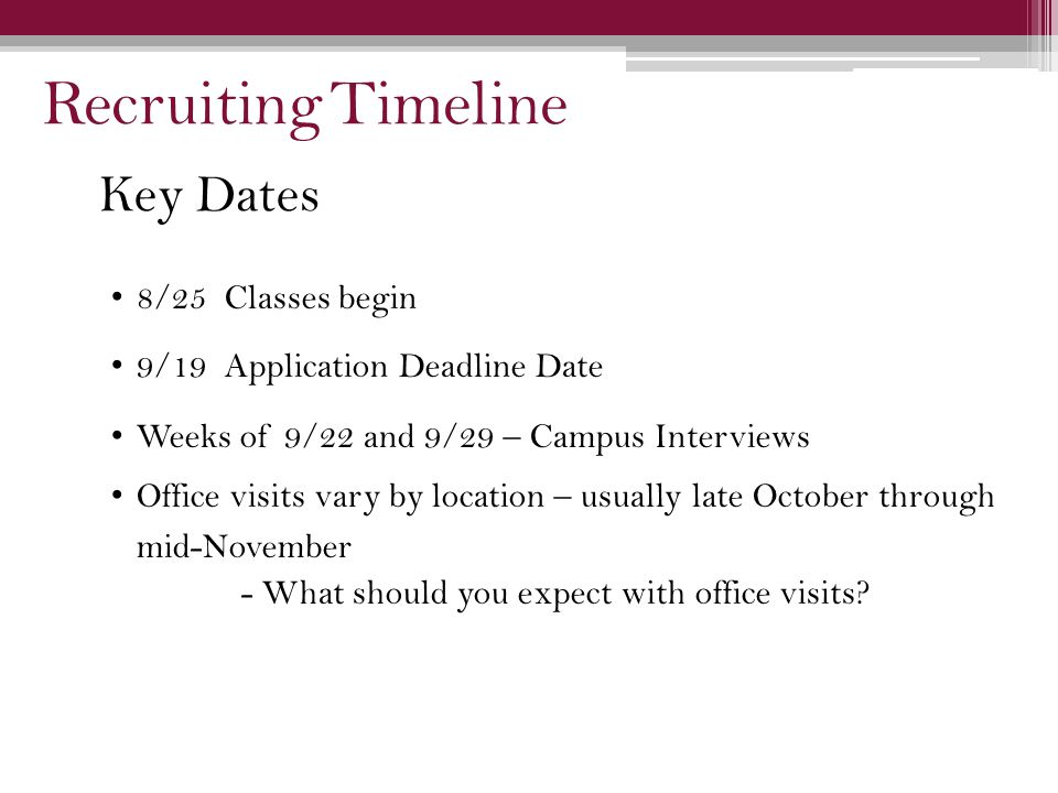 Key Dates 8/25 Classes begin 9/19 Application Deadline Date Weeks of 9/22 and 9/29 – Campus Interviews Office visits vary by location – usually late October through mid-November - What should you expect with office visits.