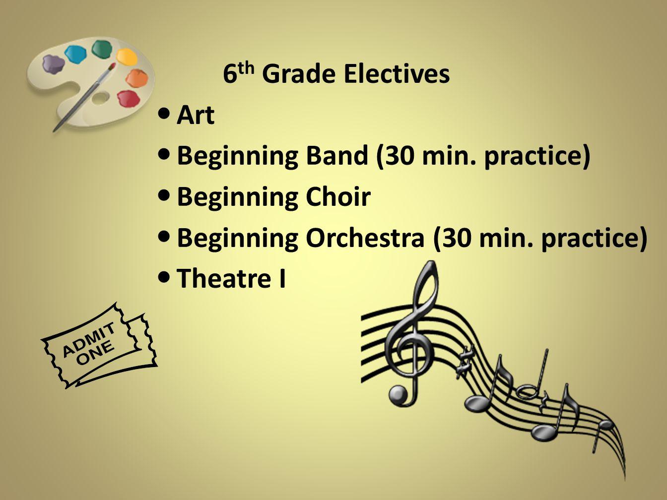 6 th Grade Electives Art Beginning Band (30 min. practice) Beginning Choir Beginning Orchestra (30 min. practice) Theatre I