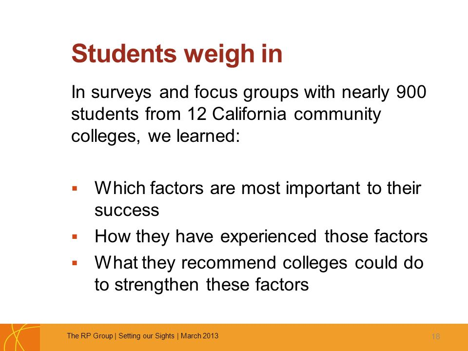 Students weigh in In surveys and focus groups with nearly 900 students from 12 California community colleges, we learned:  Which factors are most imp